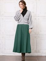 緑のフレアロングスカートが大人上品さと女性らしさを両立してくれる♡