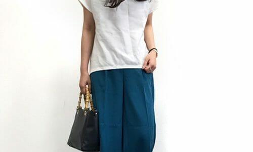 ブルーグリーン×ワイドパンツで涼し気サマースタイル