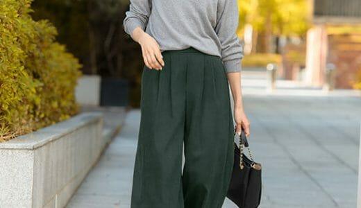 シンプルニット×ワイドパンツの定番秋スタイル。ノームコアファッションは小物で遊んで♪