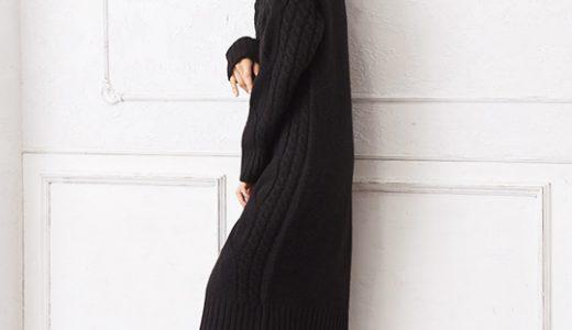 冬のおしゃれ×時短コーデの大定番!ニットワンピはブラックが上品でかっこいい◎