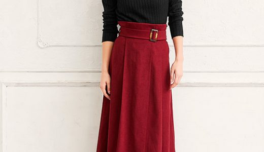 赤×黒の大人の色使いはフレアスカートでレディに着こなす大人のカラーコーデ♡