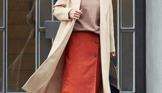 暖色カラー×ベージュのコートで冬スタイルをパッと華やかに見せる大人上品コーデ