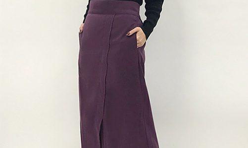 パープルスカートで今年らしさ◎小さいさんにも似合うロング丈♪ピーチタイトスカート