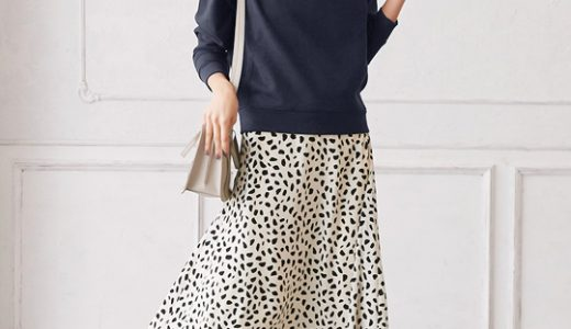 ダルメシアン柄スカートが華やかな印象に!大人スウェットスタイル