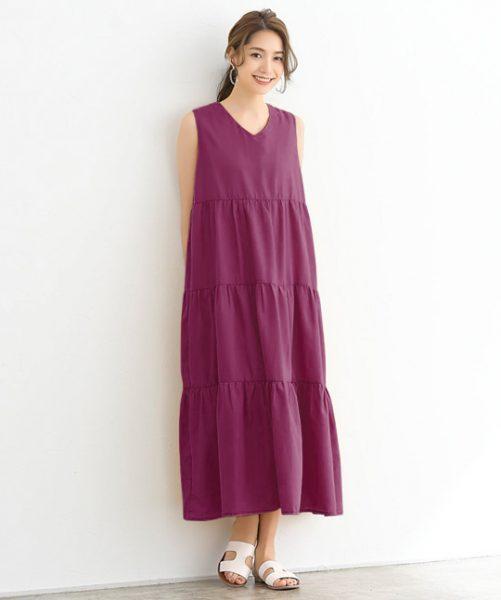大人の洗練カラー「ベリー」は抜け感ワンピースで好バランスな着こなしに!