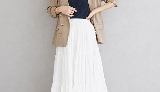 オフィスにも◎な白のティアードスカートで作る大人スタイリッシュコーディネート