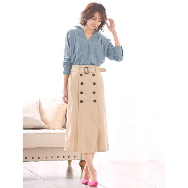 シャツ×トレンチスカート ショッピングはきれいめ大人コーデ