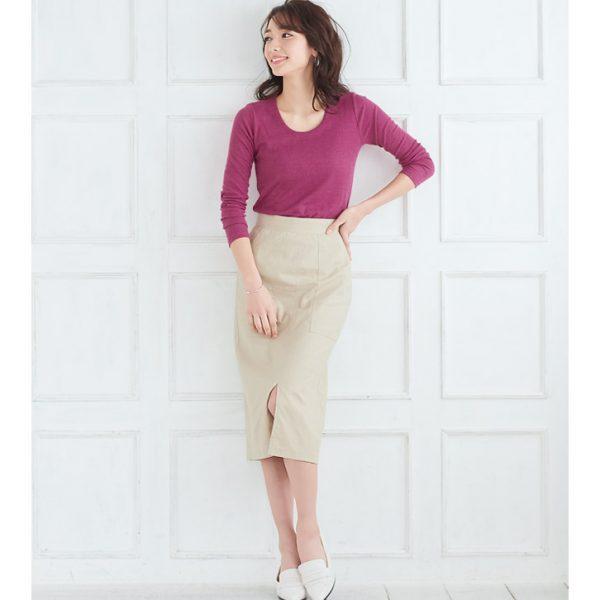 鮮やかピンク×タイトスカート