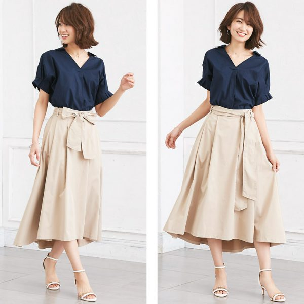 ネイビーシャツ×フレアスカート これが大人のフェミニンスタイル♪
