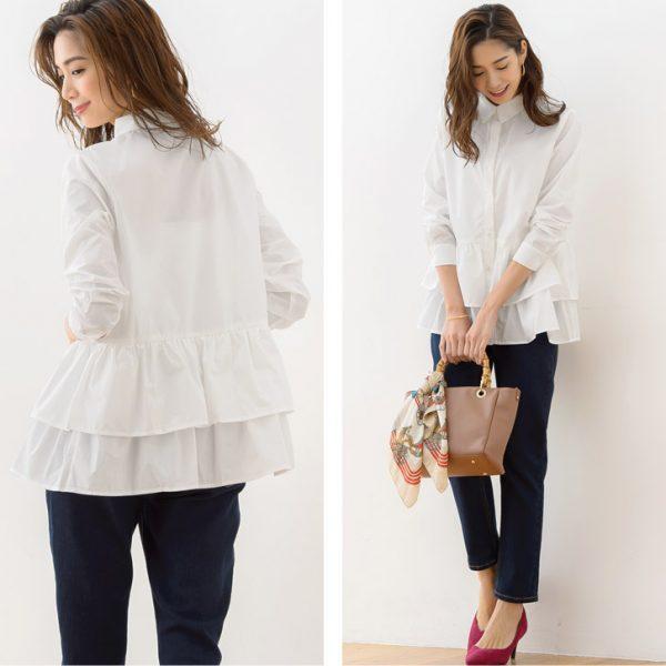 白シャツ×テーパードデニムで雰囲気漂う大人上品コーデ♡