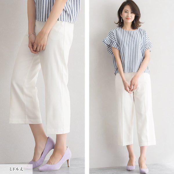 ストライプシャツ×白ボトムス
