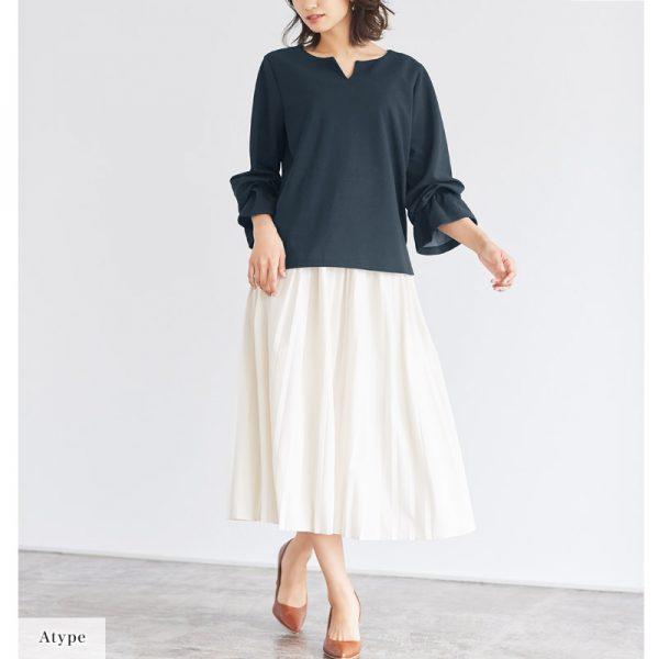 シャツ×白スカート