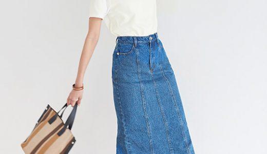 定番の白Tシャツ×デニムスカートも小物使い一つで旬な大人カジュアルコーデに♪