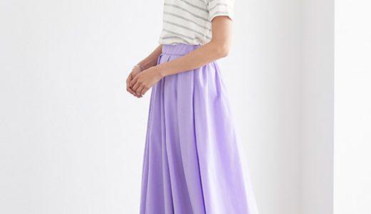 鮮やかなカラースカートが目を引く、大人のフェミニンカジュアルスタイル♪