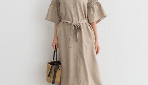 トレンドのシャツワンピースもフェミニンな印象に、大人フェミニンレイヤードスタイル