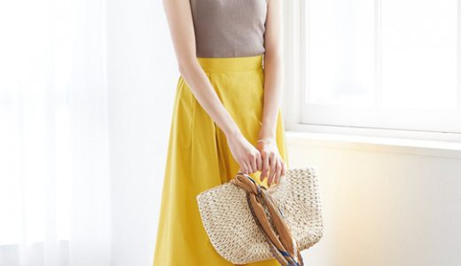 イエローのフレアスカートを取り入れた夏にぴったりの大人可愛いマリンコーデ☆