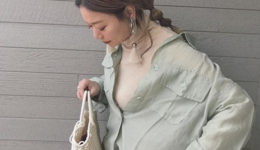 シアー感もトレンド見え♡春カラーシャツコーデ