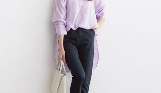 この春のマストアイテム☆春カラー×シアー素材で大人フェミニンな透け感ロングシャツコーデ