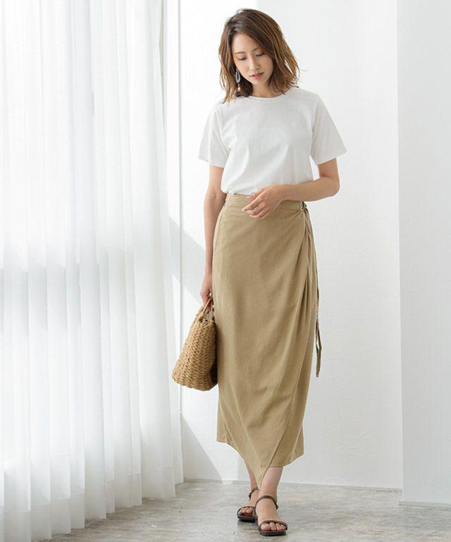 綿麻ラップスカート