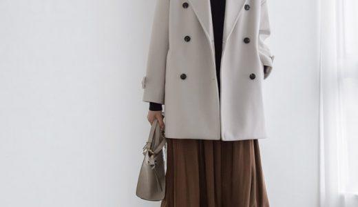 滑らかな生地感のコートが上品さをプラス。アイボリー×ブラウンのカフェオレコーデ♪