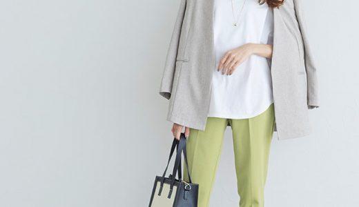 ホワイトTシャツで明るく爽やか!ライムイエローボトムでシーズンムード盛り上げる◎