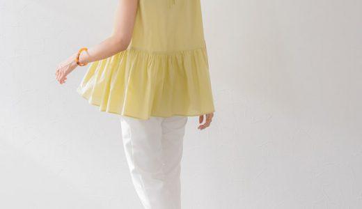 大人の甘可愛ブラウス×すっきりパンツで上品&トレンド感のある夏の映えコーデ。
