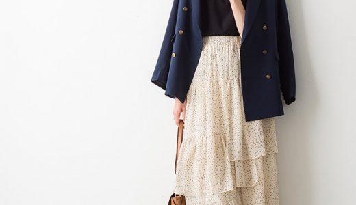 フェミニンなティアードスカートはジャケット使いで、クラシカルな雰囲気を漂わせて♪