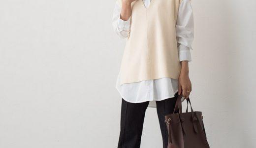 重ねるだけでオシャレなコーデが完成♡シャツ×ニットベストで大人可愛い装いに