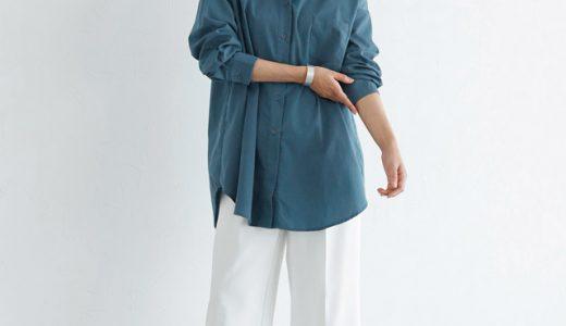 落ち着いたブルーシャツをバサッと一枚。マニッシュさを感じる秋コーデ!